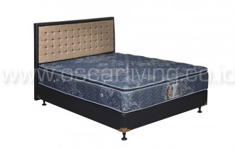 Central Grand Deluxe Single Pillowtop Bedset Victoria Oreo - Biru