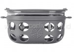 LIFEFACTORY 4 Cup Glass Food Storage Graphite