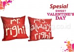 Bantal Sofa Decoration Motif Mr & Mrs Right Q679 & Q12 Edisi Valentine