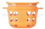 LIFEFACTORY 2 Cup Glass Food Storage Orange