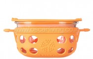 LIFEFACTORY 1 Cup Glass Food Storage Orange
