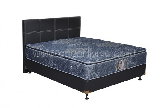 Central Grand Deluxe Single Pillowtop Bedset Elegance Oreo - Biru