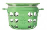 LIFEFACTORY 2 Cup Glass Food Storage Green Grass
