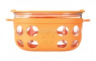 LIFEFACTORY 4 Cup Glass Food Storage Orange