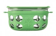 LIFEFACTORY 4 Cup Glass Food Storage Green Grass